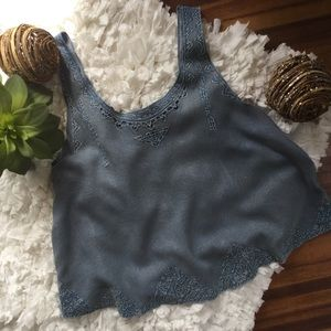 Urban Outfitters Ecote Chambray Crop Tank Top
